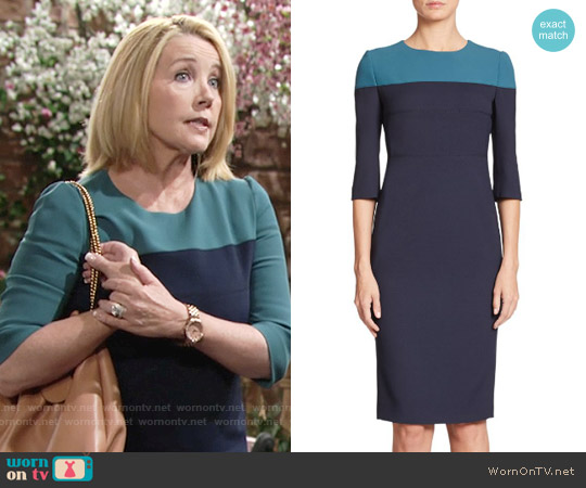 Aquilano Rimondi Colorblock Sheath Dress worn by Melody Thomas-Scott on The Young & the Restless