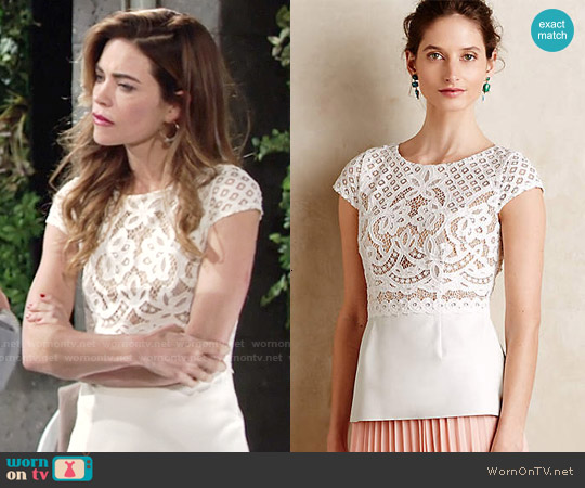 Bailey 44 Regatta Peplum Top worn by Amelia Heinle on The Young & the Restless