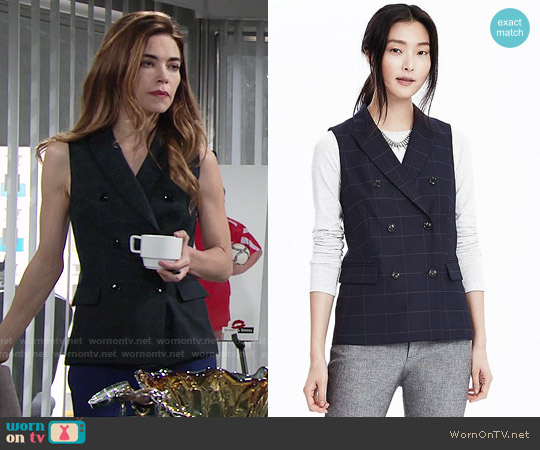 Banana Republic Double Breasted Windowpane Vest worn by Amelia Heinle on The Young & the Restless