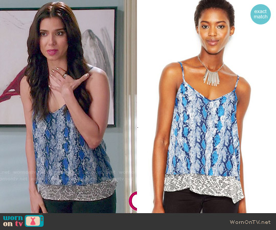 Bar III Sleeveless Snakeskin-Print Lace Tank Top worn by Roselyn Sanchez on Devious Maids