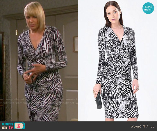 Bebe Print Surplice Midi Dress worn by Arianne Zucker on Days of our Lives