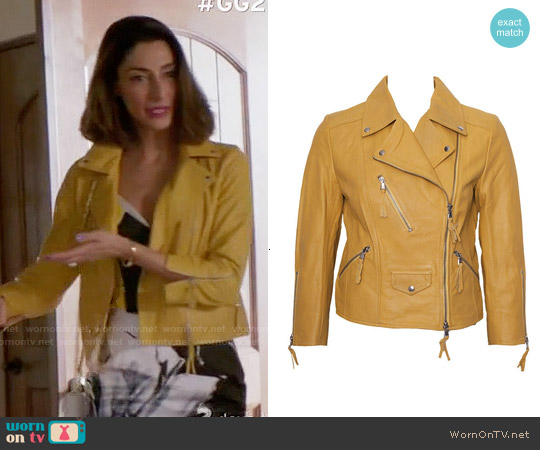 Benedetta Novi Yellow Cropped Leather Jacket worn by Delia on GG2D