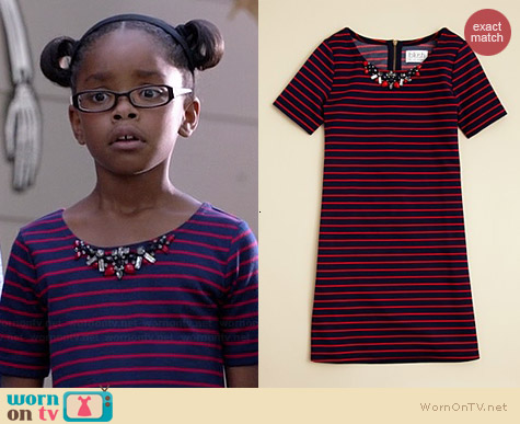 Blush by US Angels Jewel Neck Sheath Dress worn by Marsai Martin on Black-ish