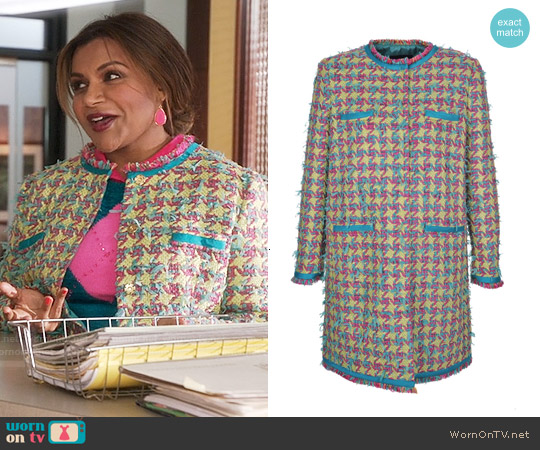 Boutique Moschino Long Tweed Jacket worn by Mindy Kaling on The Mindy Project