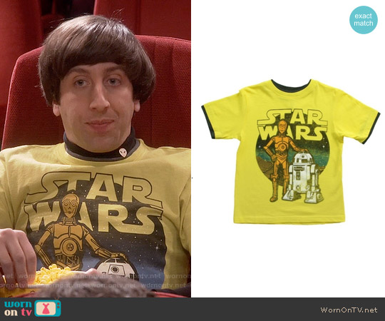 Boys Juvy Star Wars Yellow C3PO & R2D2 T-shirt worn by Simon Helberg on The Big Bang Theory