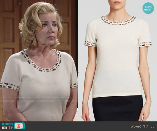C by Bloomingdale's Embellished Cashmere Sweater worn by Melody Thomas-Scott on The Young & the Restless