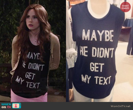 CHRLDR Maybe He Didn't Get My Text Tank worn by Karen Gillan on Selfie