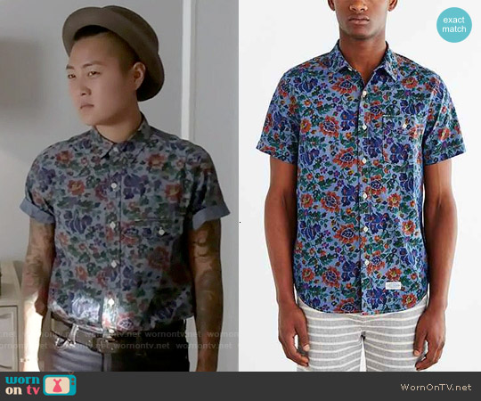 CPO Chambray Painterly Floral Button-Down Shirt worn by Jeanna Han on Scream Queens