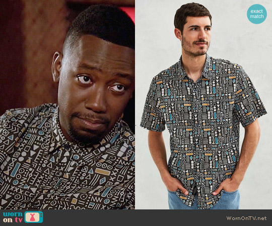 CPO Geo Print Short-Sleeve Button-Down Shirt worn by Lamorne Morris on New Girl