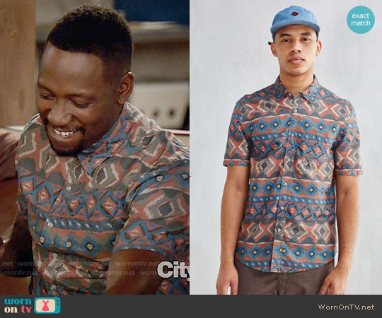 CPO Painted Ikat Short-Sleeve Button-Down Shirt worn by Lamorne Morris on New Girl