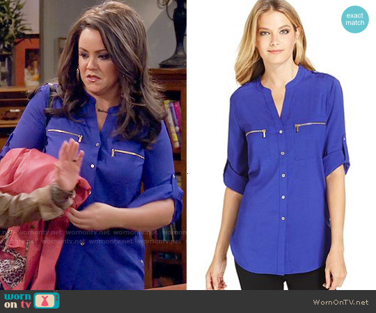 Calvin Klein Roll-Tab-Sleeve Zip-Pocket Blouse in Byzantine worn by Katy Mixon on Mike & Molly