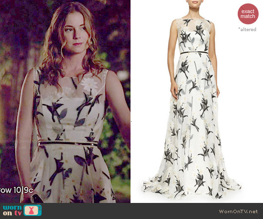 Carolina Herrera Daisy Floral Fil Coupe Gown worn by Emily VanCamp on Revenge
