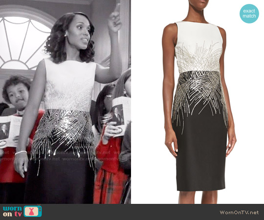 Carolina Herrera Mikado Two-Tone Beaded Cocktail Dress worn by Kerry Washington on Scandal