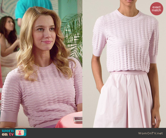 Carven cropped basket knit sweater worn by Yael Grobglas on Jane the Virgin