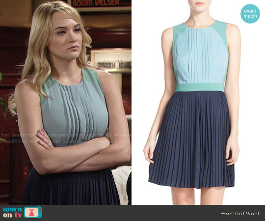 Chelsea28 Colorblock Pleat Fit & Flare Dress worn by Hunter King on The Young & the Restless