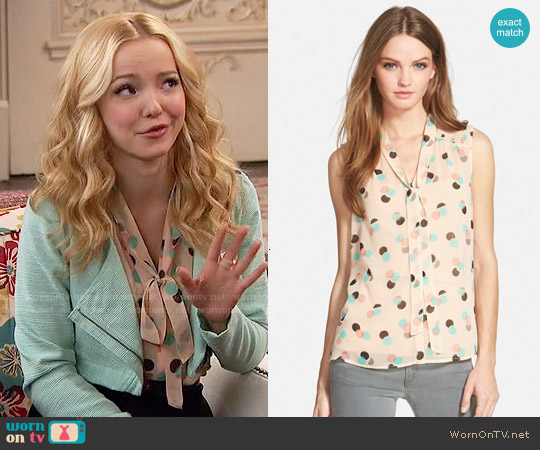 Chelsea28 Smocked Shoulder Top in Beige Flushed Layered Circles worn by Dove Cameron on Liv & Maddie