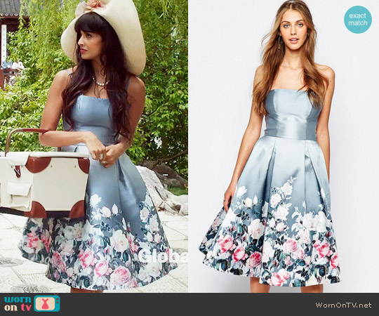 Chi Chi London Bandeau Midi Dress in Sateen Floral Print worn by Jameela Jamil on The Good Place