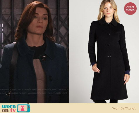 Cinzia Rocca Wool Peter Pan Collar Coat worn by Julianna Margulies on The Good Wife