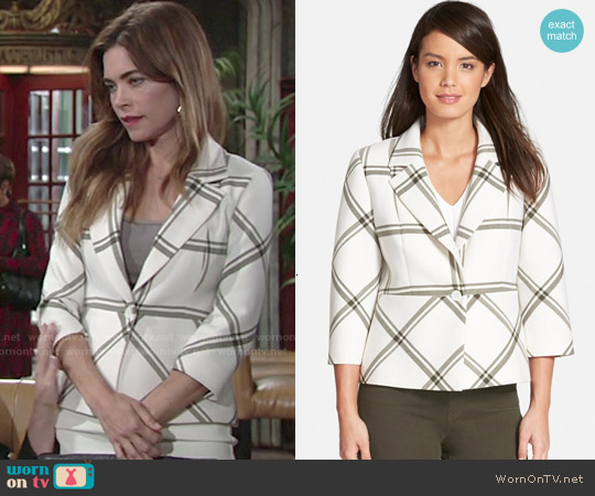 Classiques Entier Window Pane Check Jacket worn by Amelia Heinle on The Young & the Restless