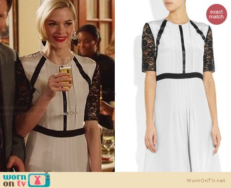 Clements Ribeiro Kaitia Pleated Silk Dress worn by Jaime King on Hart of Dixie