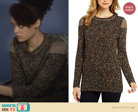 Cremieux Kari Marled Lurex Sweater worn by Britne Oldford on Ravenswood
