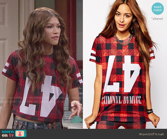 Criminal Damage Oversized T-Shirt With Paisley Check Print worn by Zendaya on KC Undercover
