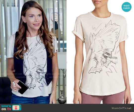 Current Elliott The Rolled-Sleeve Tee in Vintage White Post Modern Eagle worn by Sutton Foster on Younger