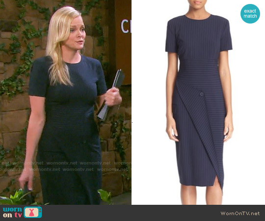 DKNY Pinstripe Asymmetrical Dress worn by Martha Madison on Days of our Lives