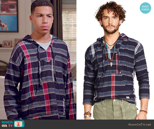 Ralph Lauren Denim & Supply Indigo Kilroy Hooded Popover worn by Marcus Scribner on Blackish