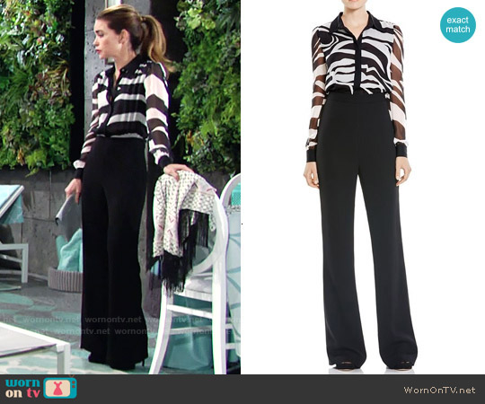 Diane von Furstenberg 'Mariah' Zebra Print Jumpsuit worn by Amelia Heinle on The Young & the Restless