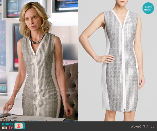 Elie Tahari Mila Zip Front Dress worn by Calista Flockhart on Supergirl