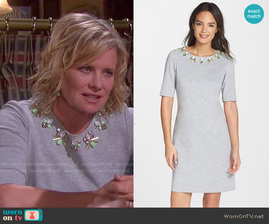 Eliza J Embellished Heathered Ponte Shift Dress worn by Mary Beth Evans on Days of our Lives