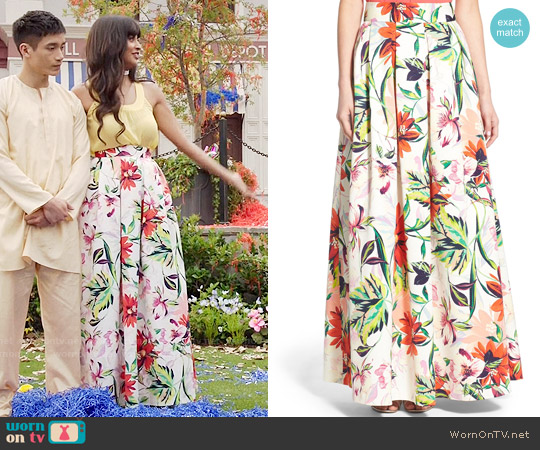 Eliza J Floral Print Faille Ball Skirt worn by Jameela Jamil on The Good Place