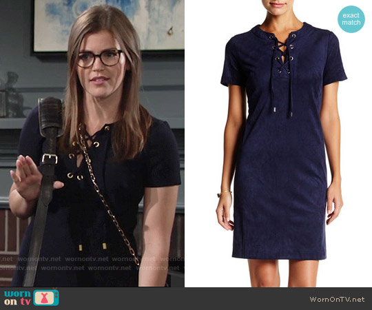 Eliza J Lace Up Shift Dress worn by Mara McCaffray on The Young & the Restless