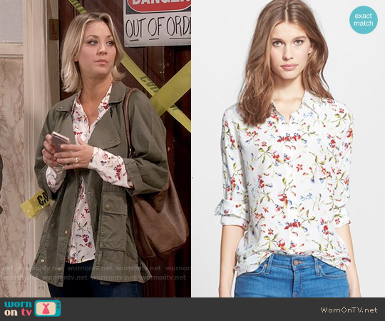 Equipment Brett Floral Silk Blouse in Nature White worn by Penny on The Big Bang Theory