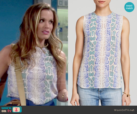 Equipment Lyle Top in Amporo Python Print worn by Melissa Claire Egan on The Young & the Restless