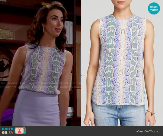Equipment 'Lyle' Python Print Top in Amparo Blue Multi worn by Ashleigh Brewer on The Bold & the Beautiful