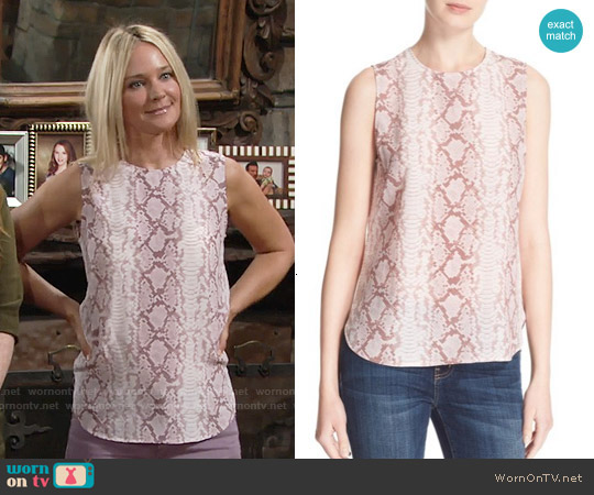 Equipment Lyle Top in Picasso worn by Sharon Case on The Young & the Restless