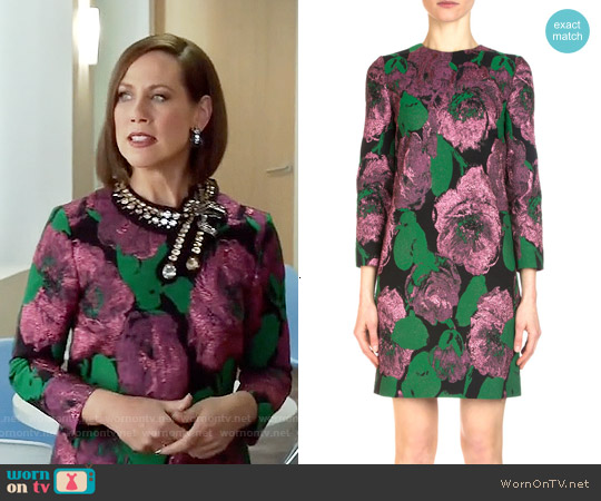 Erdem Elly Metallic Floral Jacquard Shift Dress worn by Miriam Shor on Younger