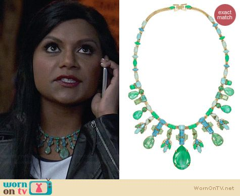 Erickson Beamon Aerin Gold Plated Swarovsky Crystal Necklace worn by Mindy Kaling on The Mindy Project