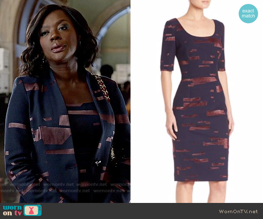 Escada Printed Fil Copupe Sheath Dress worn by Viola Davis on HTGAWM
