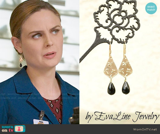 Eva Line Jewelry Onyx Teardrop Earrings worn by Emily Deschanel on Bones