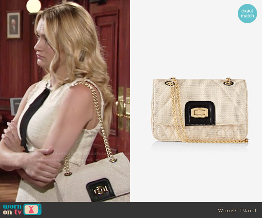 Express Straw Quilted Chain Strap Shoulder Bag worn by Summer Newman on The Young & the Restless