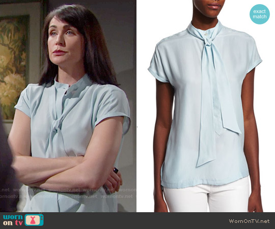 Frame Denim Short-Sleeve Tie-Neck Top worn by Rena Sofer on The Bold & the Beautiful