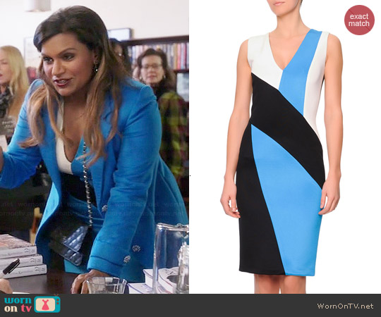 Fausto Puglisi  V-Neck Colorblock Punto Roma Dress worn by Mindy Kaling on The Mindy Project