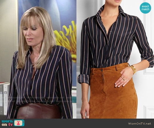 Frame Denim  Le Classic Striped Washed Silk-Charmeuse Shirt worn by Eileen Davidson on The Young & the Restless