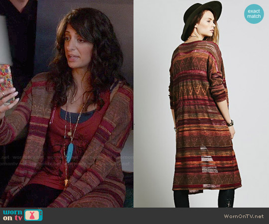 Free People Cocoon Fine Gauge Pattern Cardi worn by Meera Rohit Kumbhani on Weird Loners