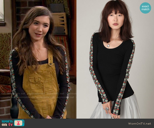 Free People Heart On Your Sleeve Thermal worn by Riley Matthews on Girl Meets World