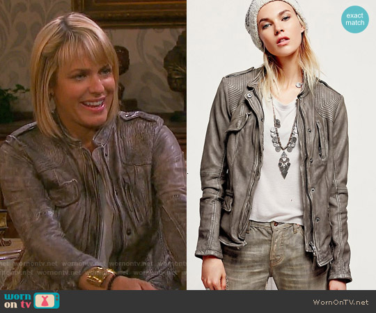 Free People Rumpled Leather Blazer worn by Arianne Zucker on Days of our Lives