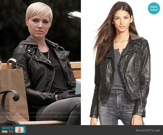 Free People Vegan Leather Hooded Moto Jacket worn by Dre Davis on PLL
